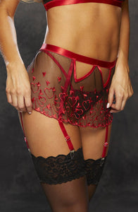Ultra Sheer Embroidered Heart Garterbelt