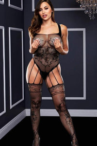 Strappy bodystocking with garters