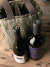 Waxed Canvas 2 Bottle Tote + Wine