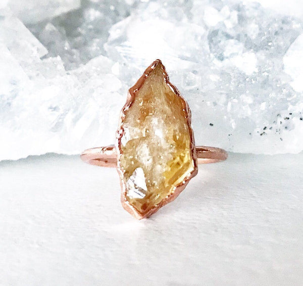 Raw Citrine Ring, Copper Ring