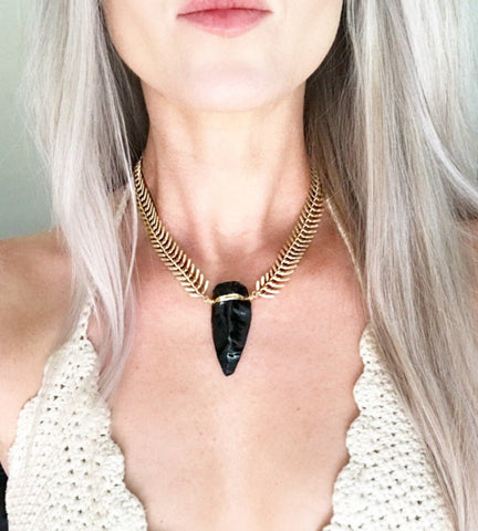 Arrowhead Necklace Obsidian, Gold Statement Choker, Black Arrowhead Necklace, Arrowhead Pendant, Arrowhead Necklace Silver, Gold Boho Choker