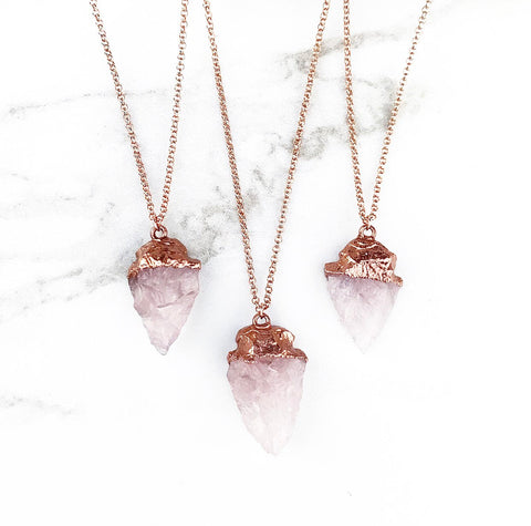 Raw Rose Quartz Healing Crystal Carved Arrowhead Protection Pendant Necklace with Electroformed Copper and 14k Rose Gold Filled Chain