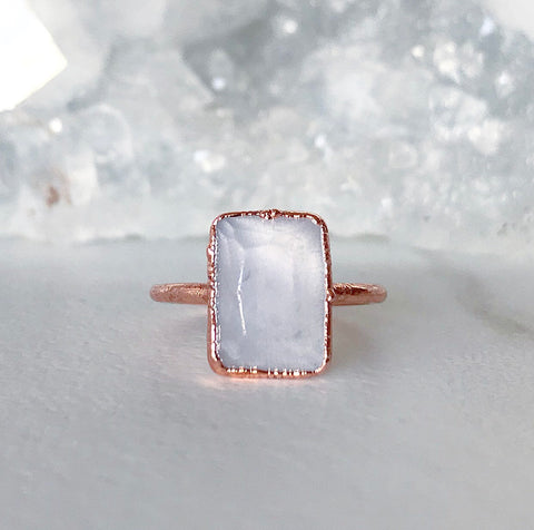 Raw Rose Quartz Crystal and Copper Ring with Emerald Cut Light Pink Blush Stone