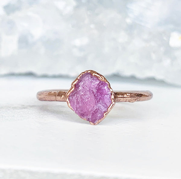 Dainty Pink Tourmaline Ring, Delicate Raw Healing Crystal Ring, Tiny Pink Crystal Ring, October Birthstone Gift, Copper Crystal Stacker