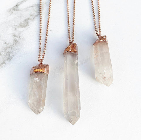Raw Chunky Quartz Necklace, Hematoid Quartz Pendant, Raw Mineral Necklace, Rough Crystal Necklace, Big Raw Crystal Pendant