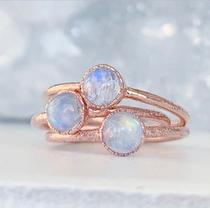 Tiny Moonstone Ring, June Birthstone Gift, Dainty Moonstone Ring, Healing Gemstone Ring, Delicate Copper Ring, Moonstone Stacker Ring