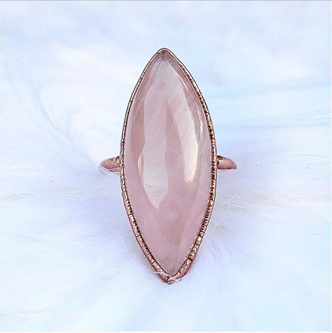 Marquis Shaped Rose Quartz Statement Ring