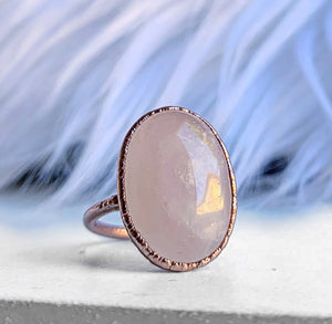 Rose Quartz Oval Ring, Rose Quartz Crystal Statement Ring, Oval Gemstone Ring, Large Raw Stone Ring, Love Stone Ring