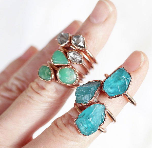 Raw Chrysoprase Stacking Ring shown as worn with other available stacking rings