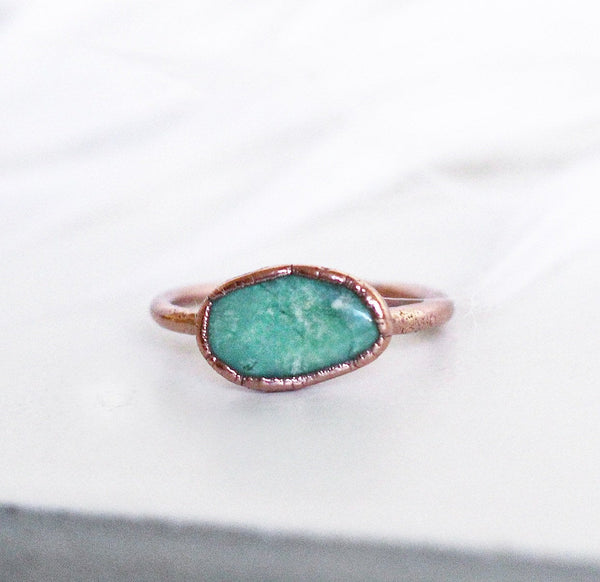 Raw Chrysoprase Copper Stacking Ring