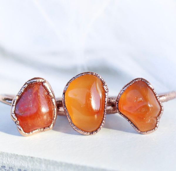 Chunky Raw Carnelian Copper Ring