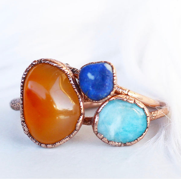 Chunky Raw Carnelian Stacking Ring