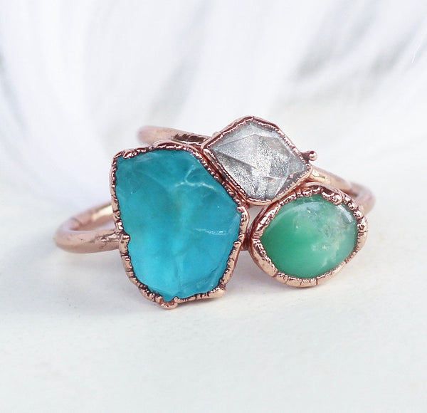 Raw Chrysoprase Stacking Copper Ring Shown with other available rings