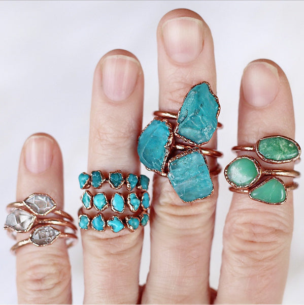 Raw Chrysoprase Ring show worn with other available stacking rings and multi stone stacking rings