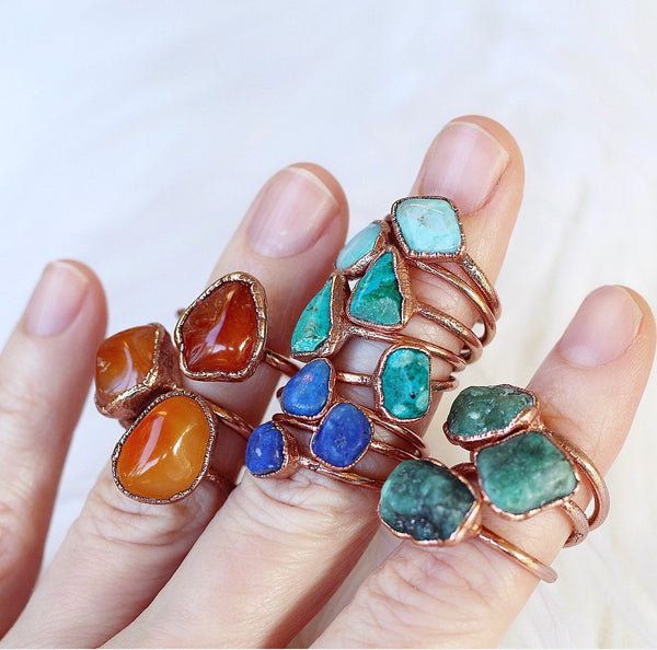 Chunky Carnelian Stacking Ring Shown with other available stacking rings