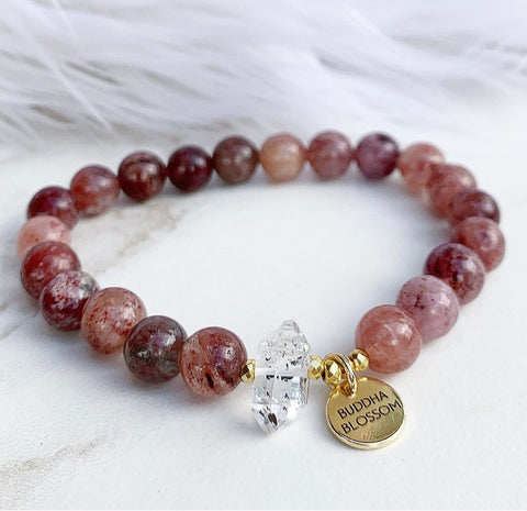 Strawberry Quartz, Mala Bracelet, Mala Beads
