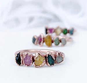 Multi Stone Tourmaline Rainbow Stacking Ring
