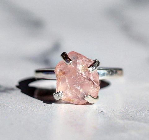 Sterling Silver Raw Rose Quartz Claw Ring