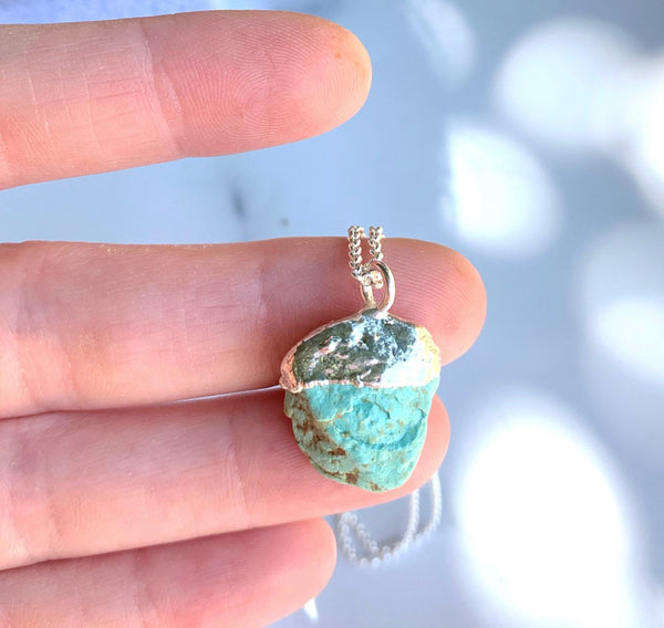 Raw Turquoise Necklace, Rough Turquoise Nugget Pendant, Real Turquoise Pendant, Gold Turquoise Necklace, Sterling Silver Turquoise Necklace