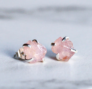 Raw Rose Quartz Claw Studs