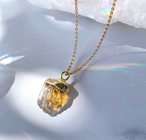 Rough Citrine Nugget Necklace