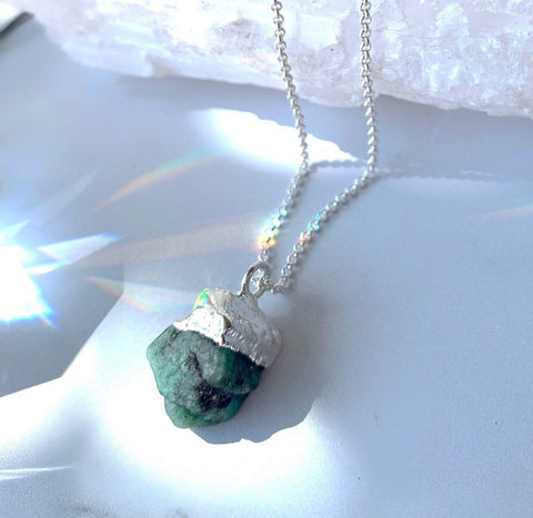 Rough Emerald Nugget Necklace
