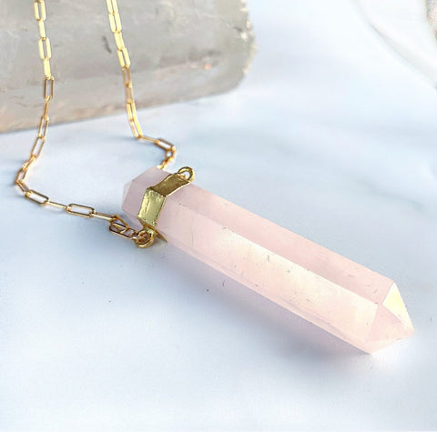Chunky Rose Quartz Point Necklace, Rose Quartz Paperclip Chain Necklace, Double Terminated Rose Quartz Necklace, Sterling Silver Crystal