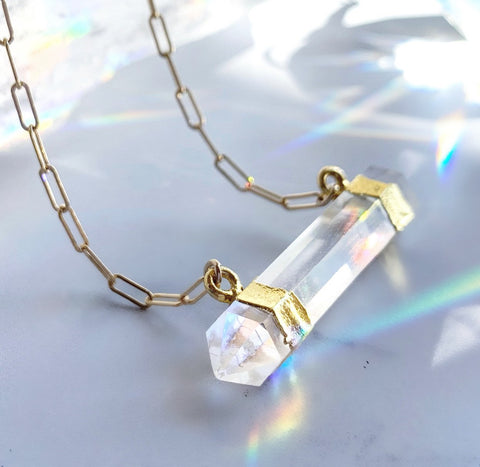 Double Terminated Crystal Quartz Bar Necklace