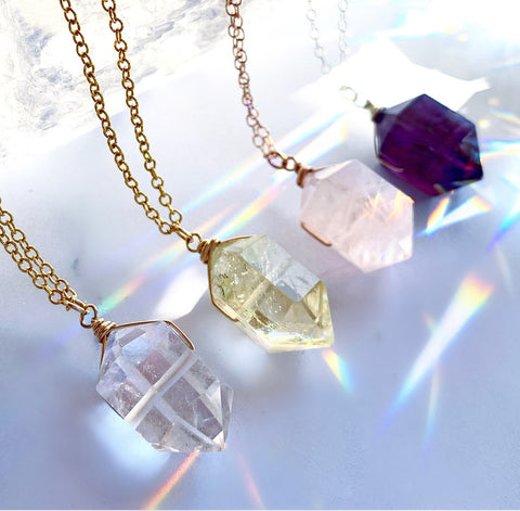Double Terminated Crystal Necklace, Crystal Nugget Necklace, Healing Citrine Point Necklace, Amethyst Point Pendant, Rose Quartz Nugget