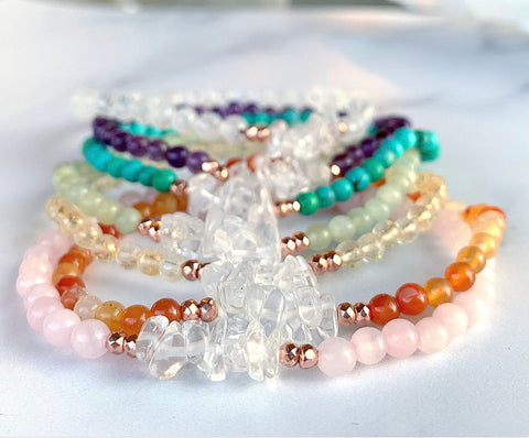 Dainty Beaded Crystal Bracelet, Delicate Gemstone Bead Bracelet, Dainty Stacking Bracelet Beaded, Stretchy Crystal Bead Bracelet, Chakra