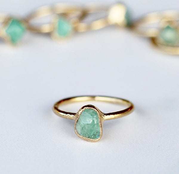 Raw Emerald Ring in Gold
