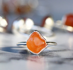 Chunky Carnelian Ring in Sterling Silver, gemstone jewelry, raw gemstone ring, root chakra ring, orange carnelian, gemstone ring, big raw gemstone, carnelian raw stone, carnelian ring, chunky carnelian, buddha blossom, blossom jewels
