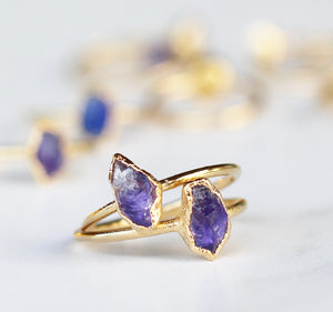 Raw Amethyst Stacking Ring in Gold