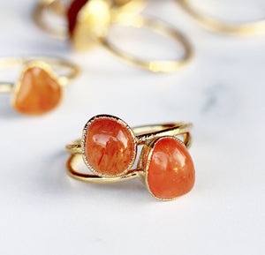 Chunky Carnelian Ring in Gold, orange crystal ring, root chakra ring, gemstone ring gold, carnelian gemstone, raw stone ring, chunky raw stone, gold band, raw carnelian ring, carnelian ring gold, gold and carnelian, buddha blossom, blossom jewels