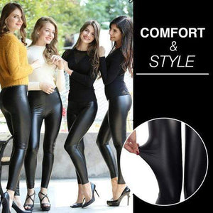 High-Waisted Faux Leather Leggings Shaper™