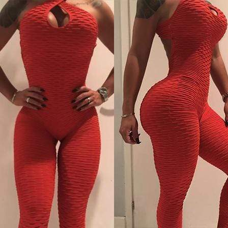 One Piece Workout Jumpsuit X Booty Lifting Shaper™ Athletics Red S