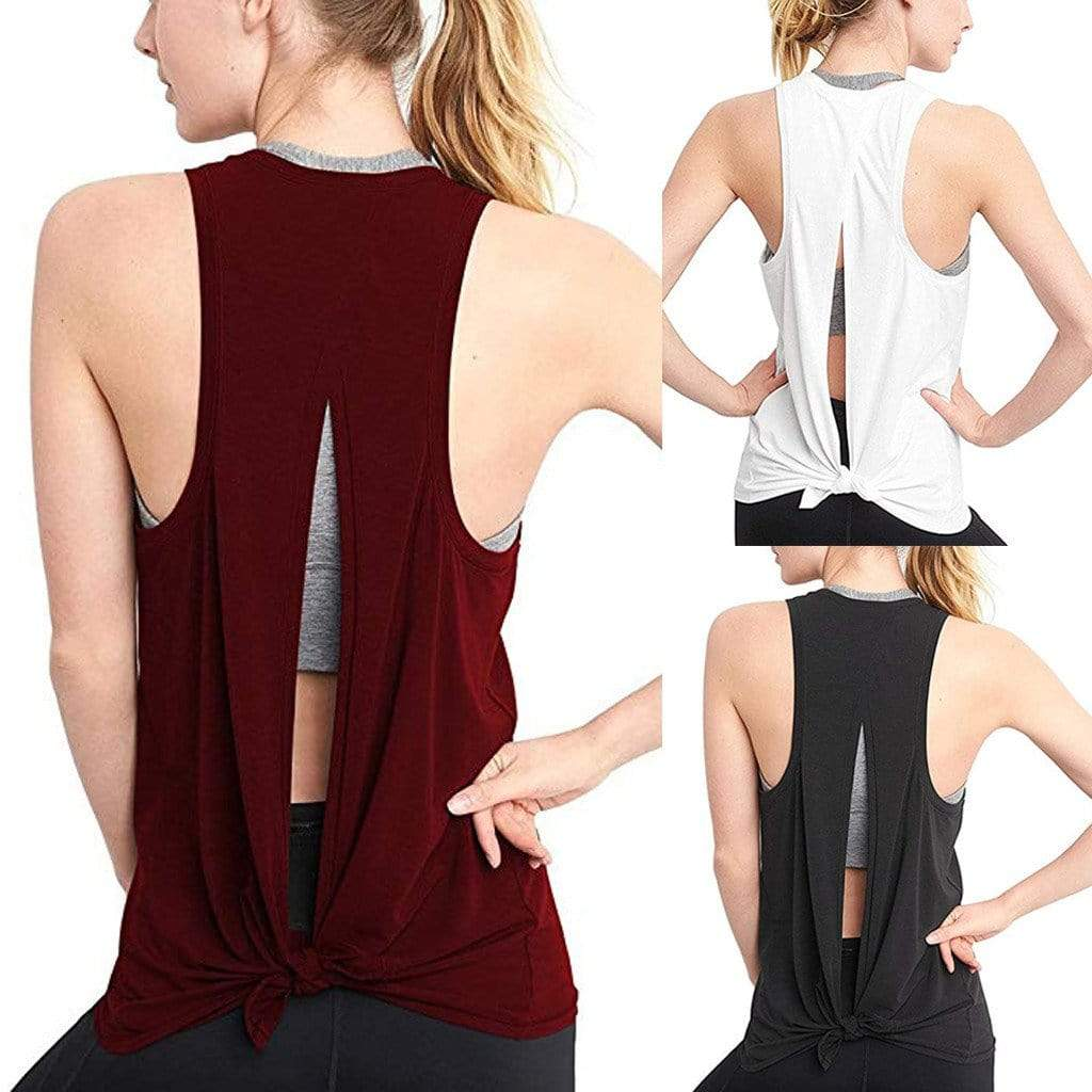 Open Back Sport Tank Tops Shaper™ Athletics Wine S