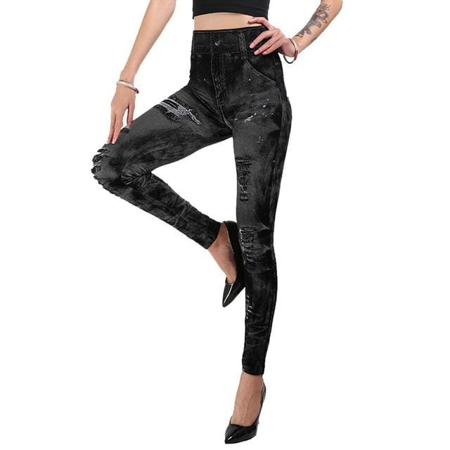 Faux Denim Leggings Shaper™ Black 2 S