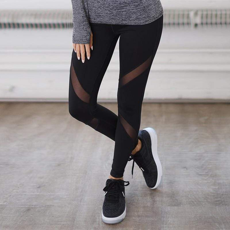 Black Mesh Fitness Leggings
