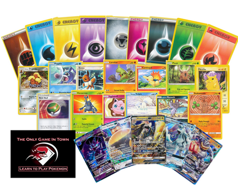 200 Pokemon Card Lot - 100 Pokemon Cards with at Least 2 GX Ultra Rares - 100 Energy! Includes Learn to Play Pokemon Instructions!