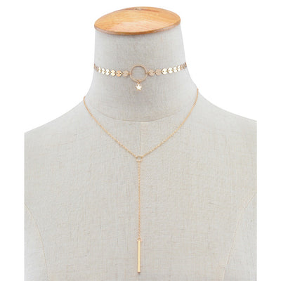 Star choker with Y Layered Necklace