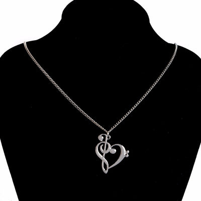 Heart Shaped Musical Note Necklace