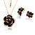 Dark Flower Necklace and Earring Set