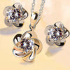Simple Elegance Flower Necklace and Earring Set