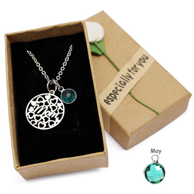 Mom Birthstone Stainless Steel Necklace