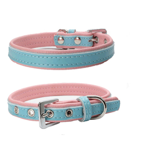 dogestyles-blue-and-pink-leather-dog-collar