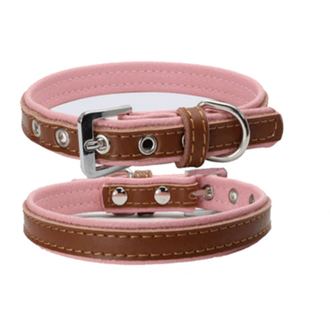 dogestyles-brown-and-pink-leather-dog-collar