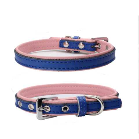 dogestyles-dark-blue-and-pink-leather-dog-collar