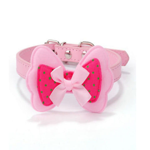 dogestyles-pink-bow-pu-dog-collar