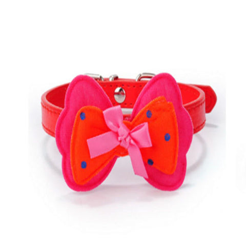dogestyles-red-bow-pu-dog-collar